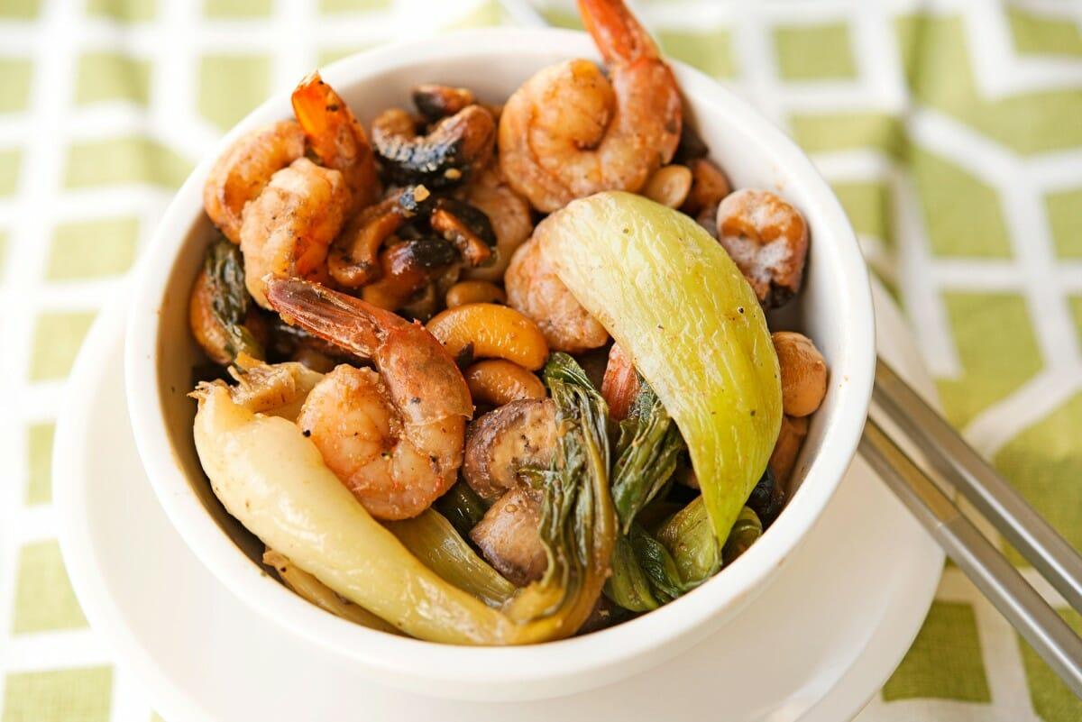 Baby Bok Choy Shrimp & Cashew Stir Fry